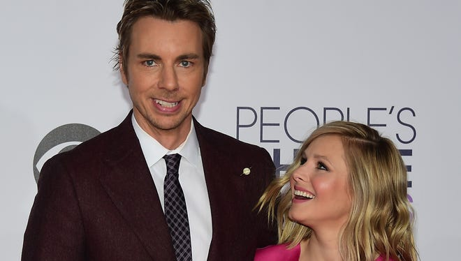 Dax Shephard, pictured with wife Kristen Bell, is one of the best celebrity dads to follow on Instagram.
