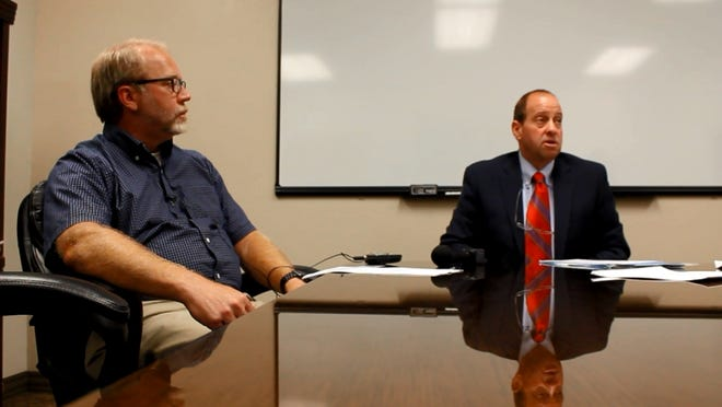 Red Bluff City Manager Rick Crabtree, left, and Tehama County District Attorney Gregg Cohen hold a press conference on the arrest of City Council member Suren Patel in this file photo. Cohen announced Friday that after 20 years as Tehama County's DA, he won't seek a fifth term.