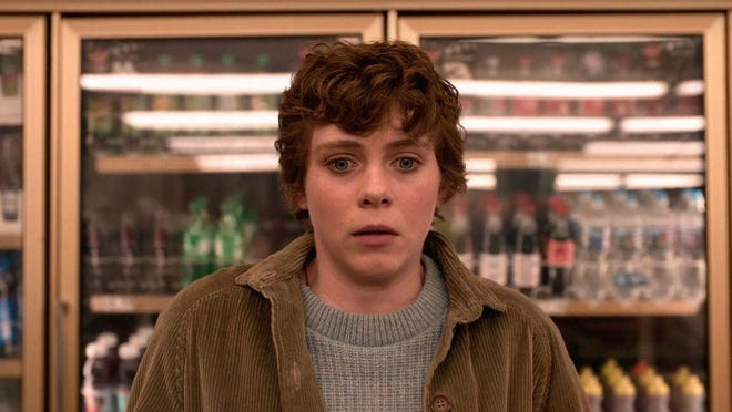 "Sophia Lillis stars as Sydney, the angry, moody, depressed tomboy teen in ""I Am Not Okay with This."""