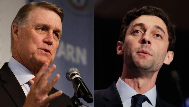 Republican Sen. David Perdue, left, and Democratic challenger Jon Ossoff.
