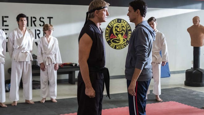 "Ralph Macchio and William Zabka square off in season three of ""Cobra Kai."""