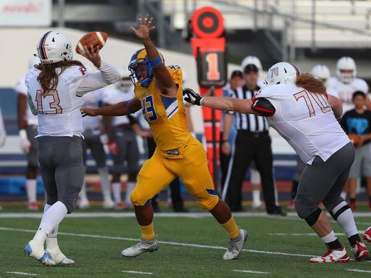 Angelo State University senior defensive end Markus Jones (43) was selected as the Lone Star Conference Preseason Defensive Player of the Year for 2018.