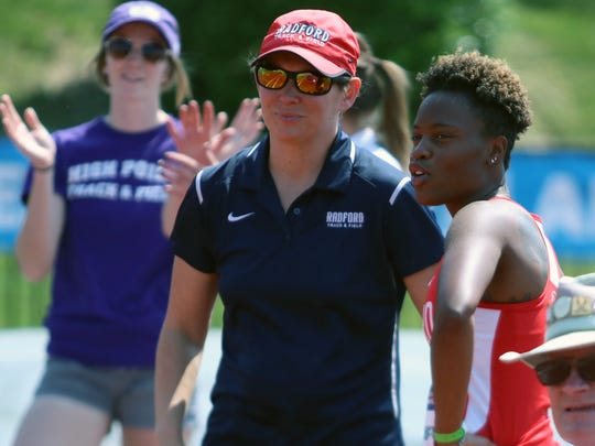 Shelli Sayers, assistant women's track coach at Radford University, will be coaching Wilson Memorial's Emilie Miller and her roommate, Talasjah Weathersby of Galileo Magnet, when they arrive at the end of the summer.