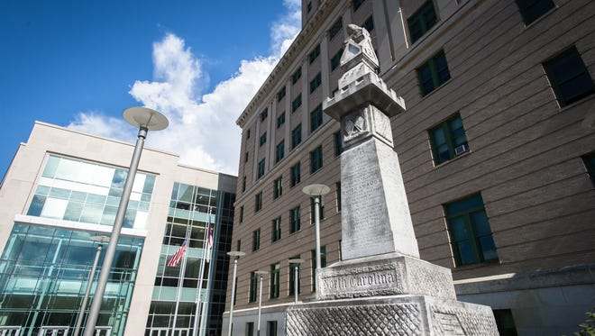 A Civil War monument to the 60th Regiment of NC volunteers in the battle of Chickamauga, outside the Buncombe County courthouse.