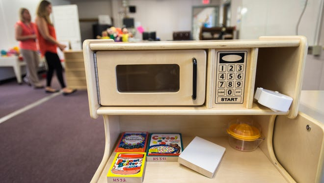 Part of a kids' kitchen set in a new preschool classroom Aug. 23 at Johnston Elementary School.