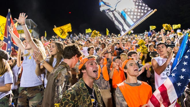 Tuscola students cheer during their game against Pisgah Friday, September 1, 2017.