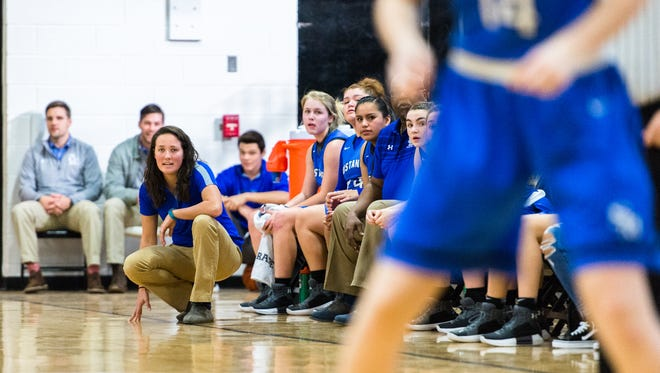 Smoky Mountain girls basketball coach Heather Klipa watches her team during their game against Tuscola in Tuscola's Holiday Classic tournament Thursday, December 28, 2017.