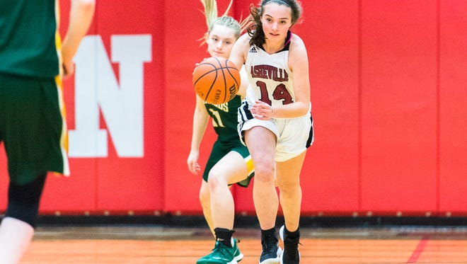 Asheville and Reynolds girls basketball teams competed in the WMAC conference tournament game at Erwin high school, Monday, February 12, 2018.