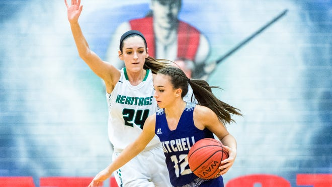 The Mountain Heritage girls basketball team played Mitchell high school in the Western Highlands Conference tournament at Madison high school Friday, February 16, 2018.