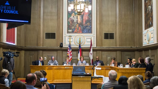 The Asheville City Council convenes for a meeting Tuesday, March 20, 2018.