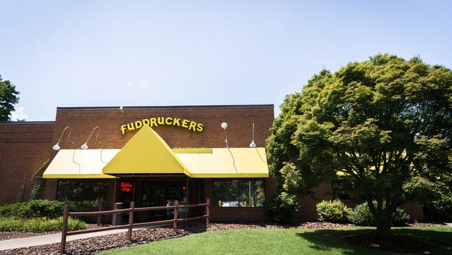 Asheville's Fuddruckers restaurant at 130 Charlotte St. The property potentially could become the site of a 200-unit apartment complex with about 17,000 square feet of commercial space.