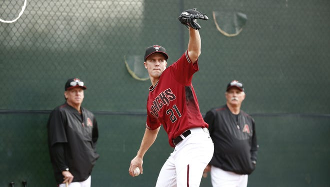 Arizona Diamondbacks pitcher Zack Greinke throws for the first time during spring training on Friday, February 19, 2016.