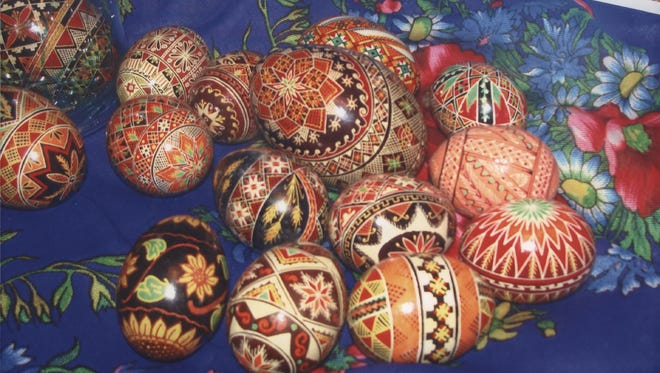 These Ukrainian Easter eggs, called pysanky eggs, were made by Irene Grassmann of Irondequoit.