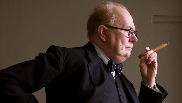 Gary Oldman strikes the pose as Winston Churchill in