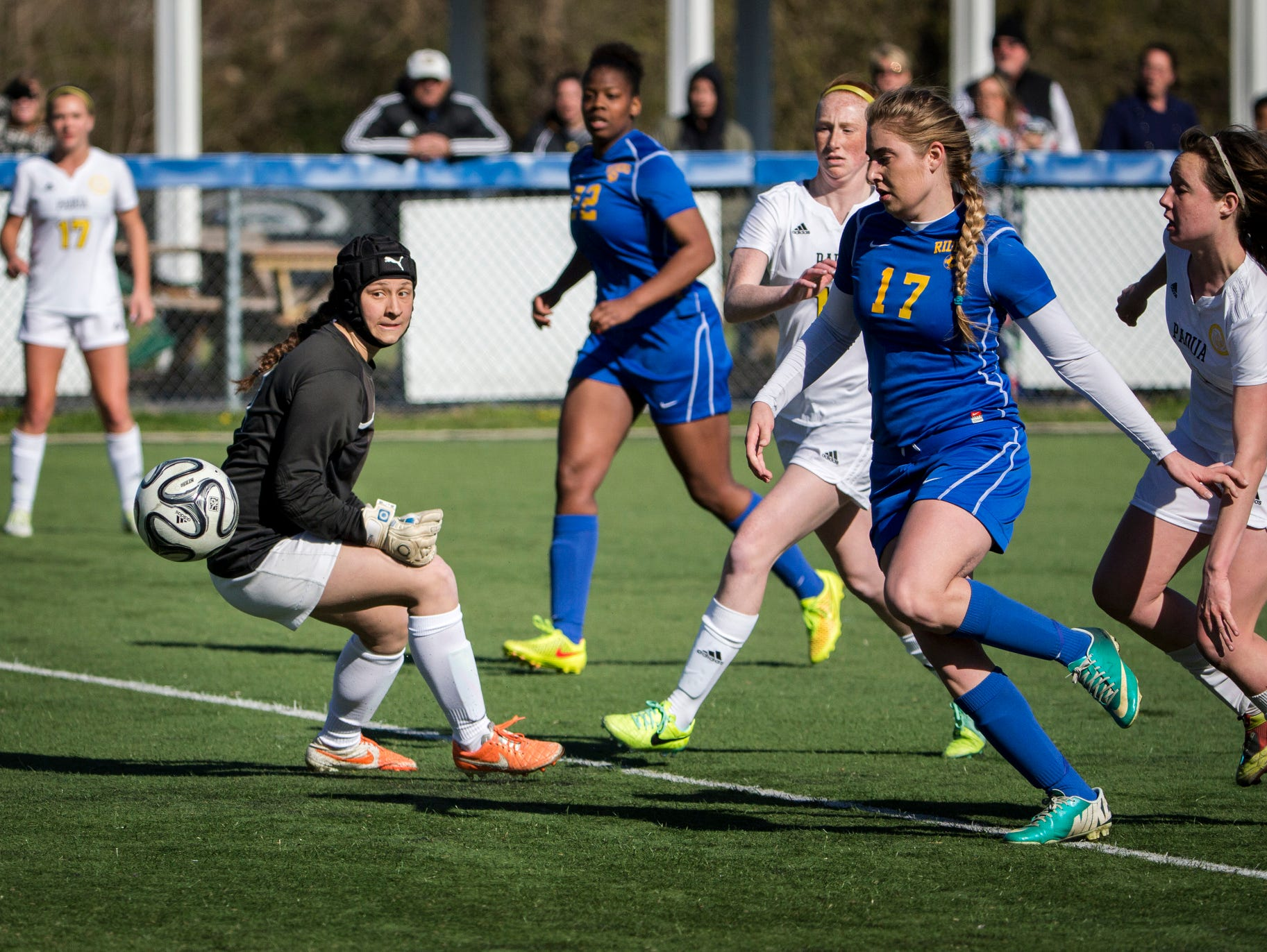Caesar Rodney keeper Marianna Nuzzo (left) and defender Julia Lyncha (right) chase down the ball after a Padua cross deflected off Lyncha toward the goal for an own-goal in the second half of Padua's 2-0 win over Caesar Rodney at the Hockessin Soccer Club on Tuesday afternoon.