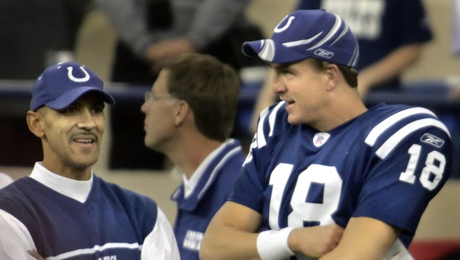 FILE -- Indy's Peyton Manning and head coach Tony Dungy chat on the sideline. When the Colts visited New England, Dungy said, they took precaution in the locker room.