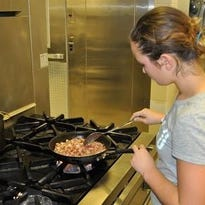 Students had a chance to do some hands-on food preparation.