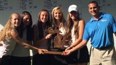 The members of Farmington's regional tournament golf team are (left to right) Sydney Millis, Emily Meltzer, Ellie Tellerico, Rachel Newton,  Elle Greenlee and coach Mark Azeez.