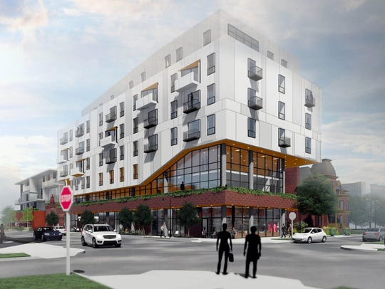 A new seven story building proposed for Brush Park