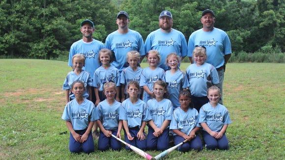 The Hominy Valley 6U softball team. Top: Coach Adam