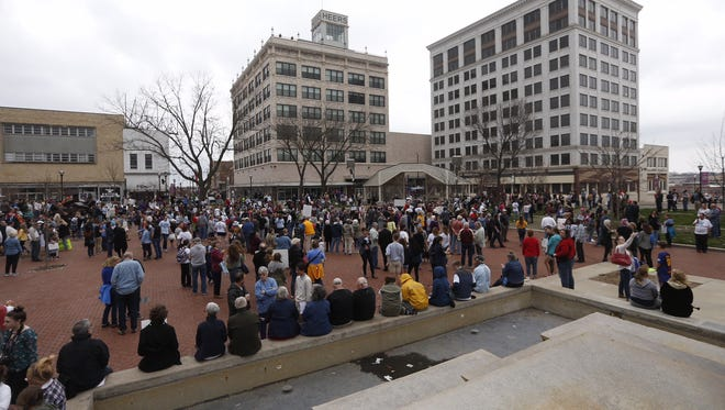 People start to gather at Park Central Square for the March For Our Lives rally.