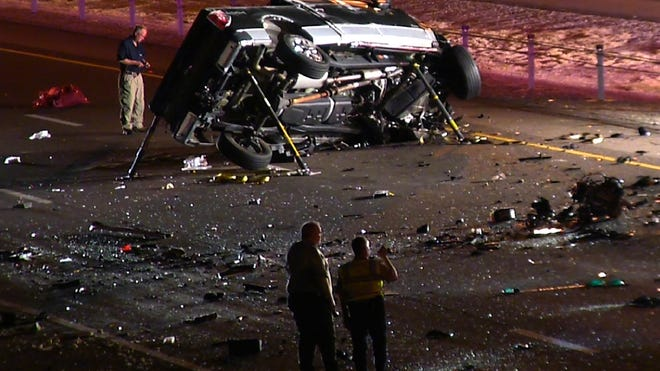 Two people were killed May 18, 2014,  after their car was struck by a wrong-way driver on the Santan Freeway in Gilbert, Arizona Department of Public Safety officials said.
