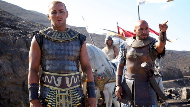 Ramses (Joel Edgerton, left) and Khyan (Dar Salim) prepare to pursue Moses and the Hebrews. 'Exodus' is under fire for its casting and the liberties it takes with the biblical story.
