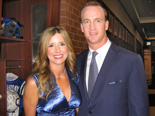 Peyton and Ashley Manning welcomed donors and guests into the Cols' locker room in May 2009, during the second-annual Peyton Manning Children's Hospital Gala. The locker room was set up as it if it had been game day, minus a bar, Peyton said.