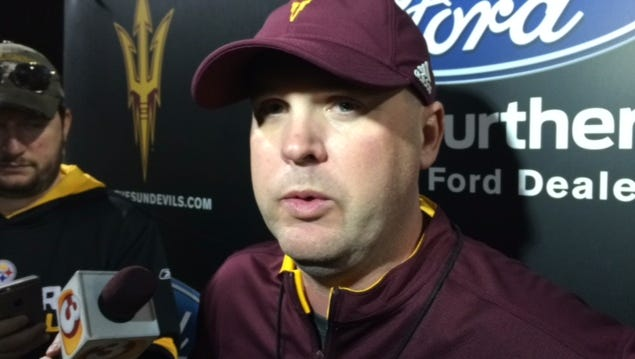 ASU's new offensive coordinator Chip Lindsey went to work on the day he was hired, participating in practice Friday.