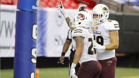 Koufie (28) ran for 201 yards and a program-record five touchdowns in ULM's 37-23 win over Georgia State.