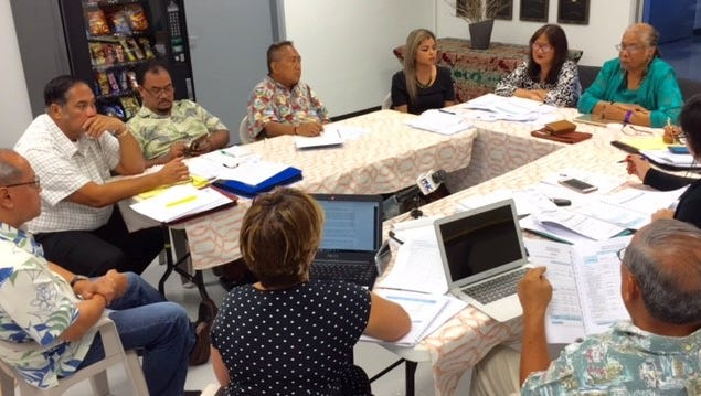 Members of the Guam Academy Charter Schools Council led by chairperson Amanda Blas on Wednesday morning discuss with officials of the Guam Academy Charter School its proposed fiscal 2019 budget, which could see a $1.3 million increase or from $4.8 million to nearly $6.1 million for 937 students, subject to legislative approval. Council members are looking into whether the charter school's pre-K program with 64 students should continue to receive legislative funding, when the law allows only for kindergarten through high school.