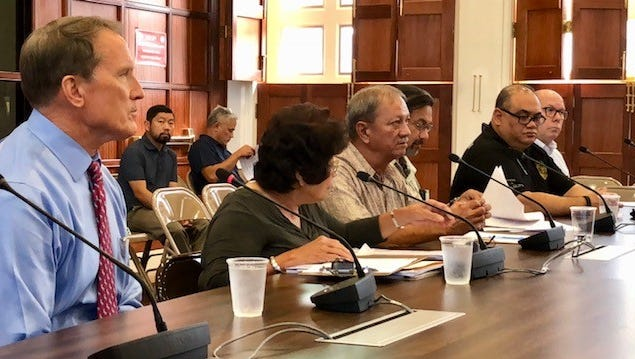 Guam Department of Agriculture Director Matthew L.G. Sablan, third from left, along with heads of different divisions, answer questions from senators during Thursday morning's hearing on Agriculture's fiscal 2019 proposed budget. Senators asked Agriculture to explain the return of grants to the federal government as contained in a federal audit report.