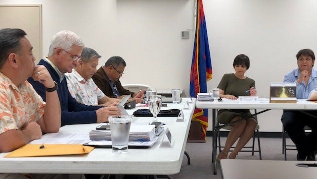 In this May 16, 2018 photo, members of the Guam Election Commission refer the complaint filed by former governor spokesman Troy Torres against commission vice chairwoman Jadeen Tuncap to legal counsel for guidance. In a special meeting on Tuesday night, the commission said it does not have jurisdiction over the matter and would therefore not investigate Torres' complaints of voter intimidation against Tuncap, who is also deputy chief of staff for Lt. Gov. Ray Tenorio.