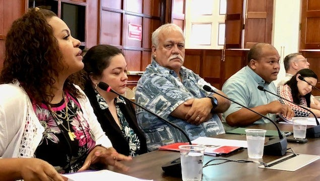 Guam Department of Education's head nurse Julietta Quinene, left, on Thursday morning testifies in support of Sen. Mary Torres' Bill 224, which seeks to allow delegation of student health services to school employees other than nurses and other health care professionals during emergencies such as asthma attacks and seizures. The bill