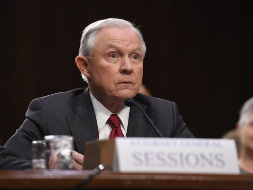 Sessions appears in an open hearing before the Senate
