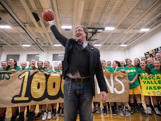 Pascack Valley girls basketball coach Jeff Jasper celebrates