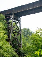 The railroad bridge over Watkins Glen State Park that would carry trains loaded with liquid petroleum gas if Crestwood Midstream's plans for a storage facility north of Watkins Glen are approved.  The bridge is very close to the upper end of the Gorge Trail in the park.