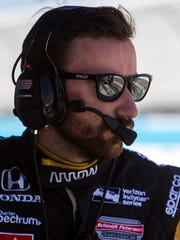 James Hinchcliffe watches the track during Day 2 of