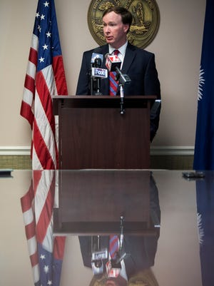 13th Judicial Circuit Court Solicitor Walt Wilkins gives a statement on his agency's investigations regarding the police-involved shooting death of Jason Mendez on Tuesday, April 17, 2017 at the Greenville County Courthouse.