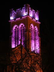 The bell tower of Saint Mark's Episcopal Cathedral was lit purple to mark the one-year anniversary of Prince's passing on April 20, 2017 in Minneapolis, Minn.