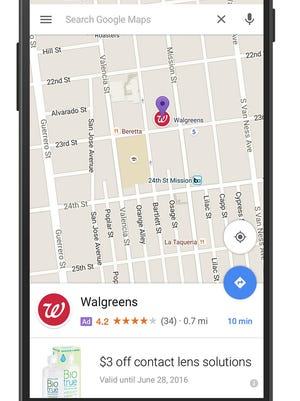 """This screen grab provided by Google shows an ad called a """"promoted pin,"""" which highlights a Walgreens along a route on Google Maps. Google has displayed text ads alongside its online maps for several years. But the change announced Tuesday, May 24, 2016, marks the first time the Internet company has inserted the equivalent of a digital billboard into the directions map itself."""