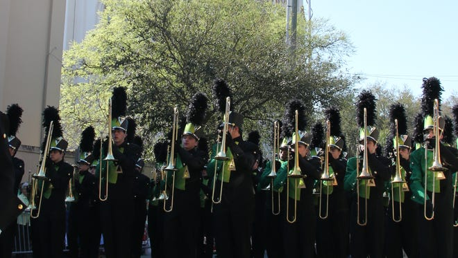 The 220-member band performed at the St. Patrick's Day parade in Savannah, Georgia.