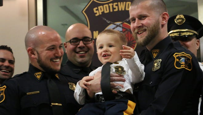 On Monday, March 20, Spotswood and Helmetta police departments made 2-year-old Trent Powers an honorary police officer. The officers have been raising awareness and funds for Trent and The Powers Promise Campaign as the young Helmetta boy suffers from Duchenne Muscular Dystrophy. The disease is known to be 100 percent fatal.