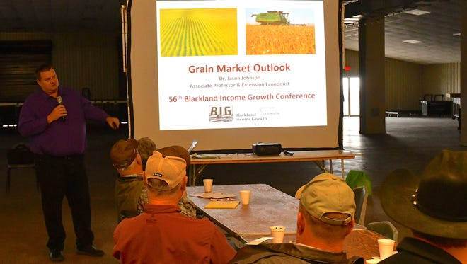 Dr. Jason Johnson, AgriLife Extension economist in Stephenville, provided a grain market outlook at the Blackland Income Growth Conference in Waco recently.