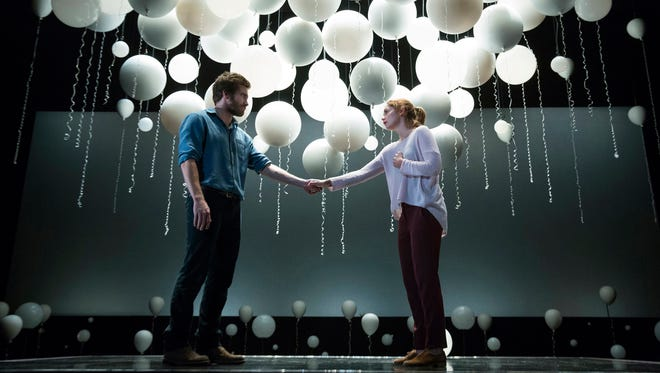 """Roland and Marianne (Jake Gyllenhaal and Ruth Wilson) meet across many universes in """"Constellations."""""""