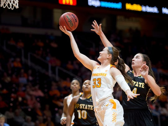 Tennessee's Alexa Middleton attempts to score while defended by Appalachian State's Madi Story on Wednesday at Thompson-Boling Arena.