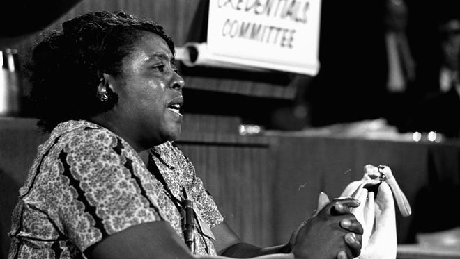In this Aug. 21, 1964, photograph, Fannie Lou Hamer, a leader of the Mississippi Freedom Democratic Party, speaks before the credentials committee of the Democratic national convention in Atlantic City, in efforts to win accreditation for the largely African-American group as Mississippi's delegation to the convention, instead of the all-white state delegation.