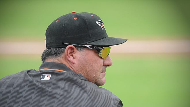 Delmarva Shorebirds' manager Ryan Minor watches his team battle the Kannapolis Intimidators at Arthur W. Perdue Stadium in the last regular season game of the 2016 season.