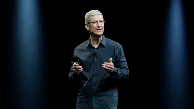 Apple CEO Tim Cook speaks at the Apple Worldwide Developers Conference event in San Francisco in June.