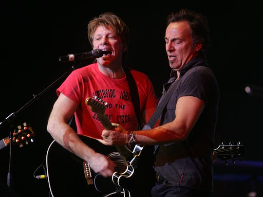 Jon Bon Jovi and Bruce Springsteen perform at the 2008 Hope Concert at the Count Basie Theatre in Red Bank.